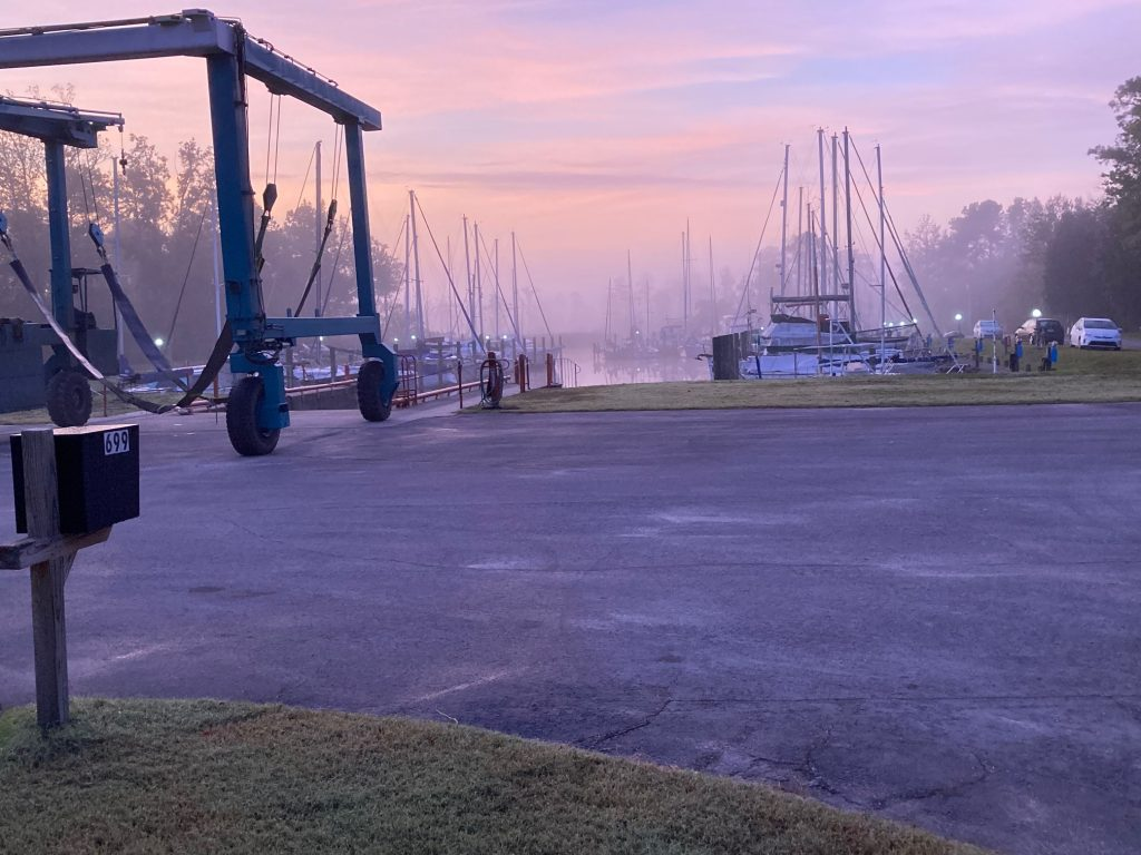 duck creek marina in New Bern fog