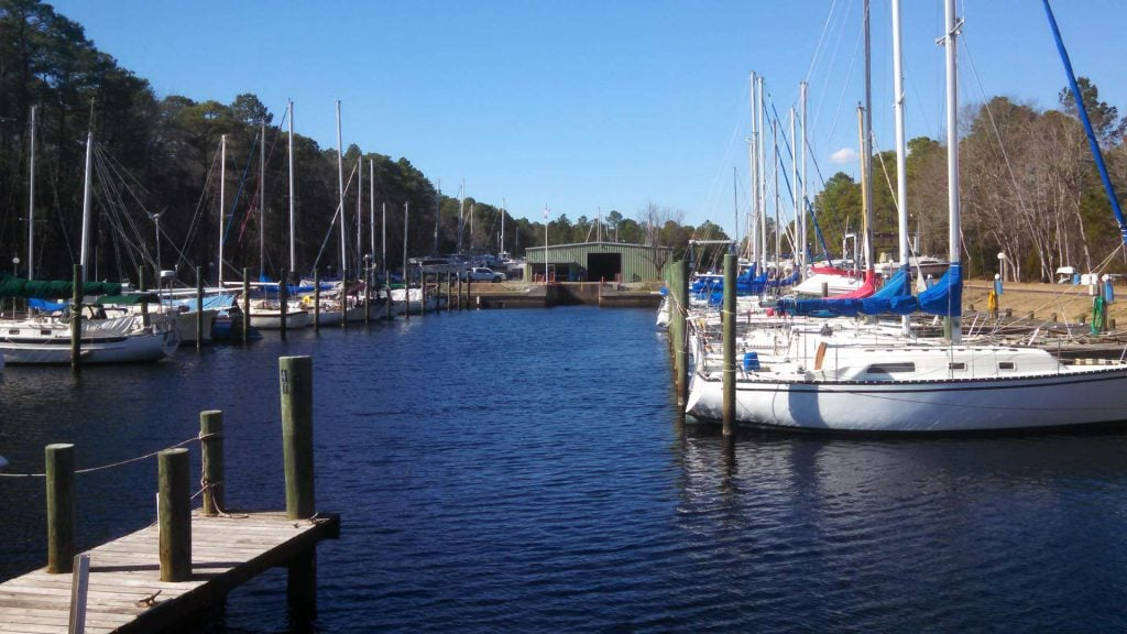 entering duck creek marina by water